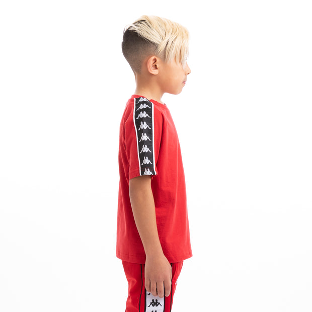 Kappa Kids 222 Banda Coen Alternating Banda Red Black White T-Shirt
