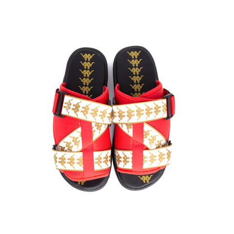 81593a640 222 Banda Mitel 1 Red Yellow Golden Sandals