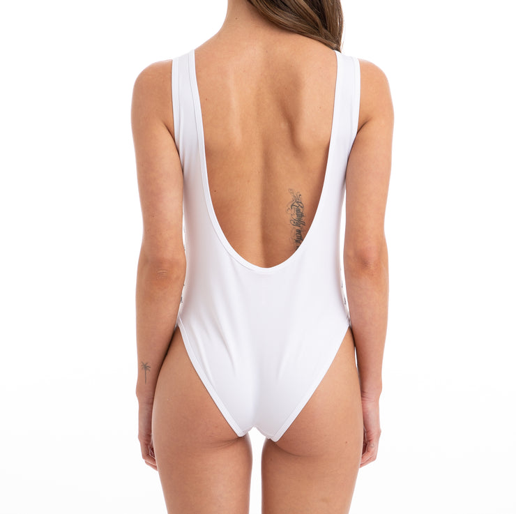 Kappa 222 Banda Auber Alternating Banda White Bodysuit