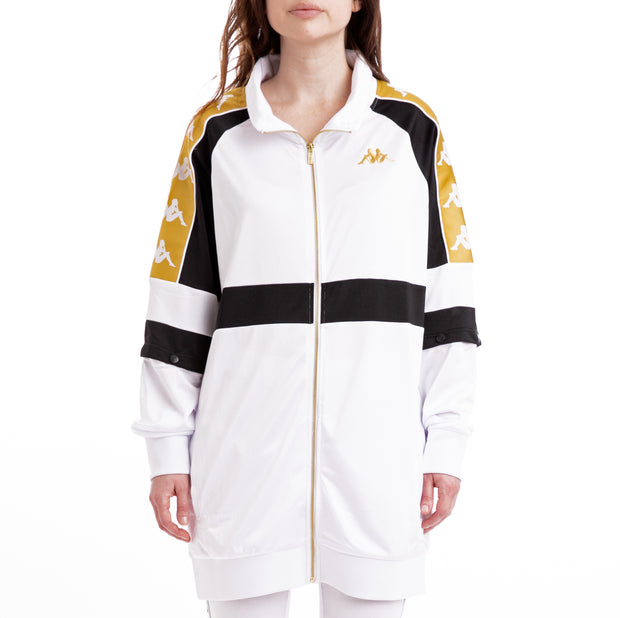 Kappa 222 Banda 10 Banik White Black Yellow Oversized Jacket