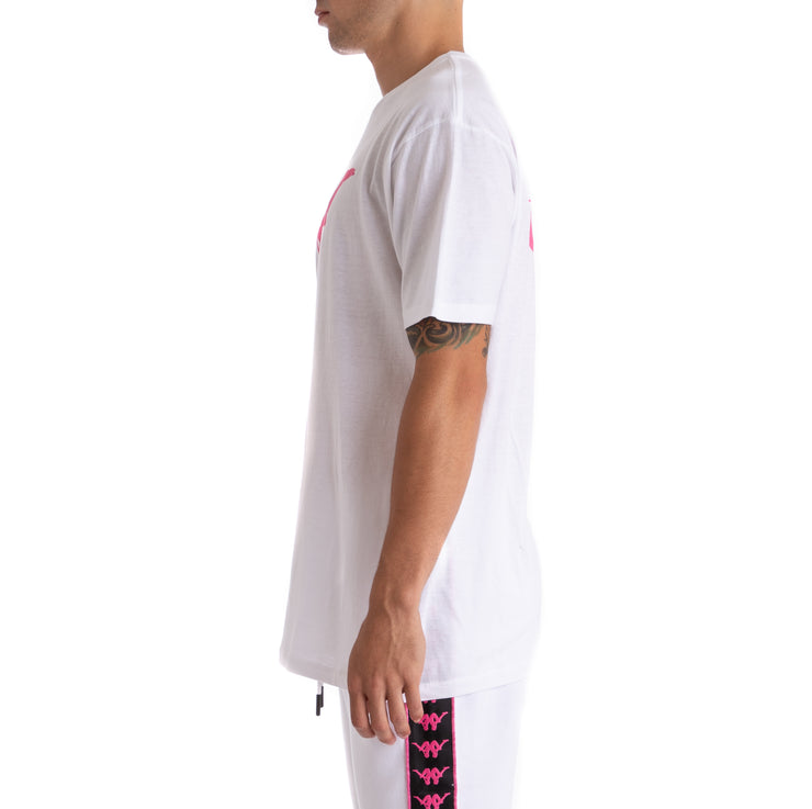 Kappa Authentic Bekke White Black Pink T-Shirt