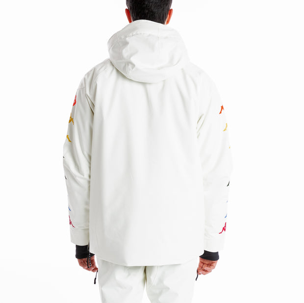 6Cento 644B Padded Anorak Jacket - Off White Rainbow