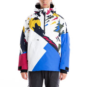 6Cento 644P Graphic Padded Anorak Jacket - Graphic Blue Cerise