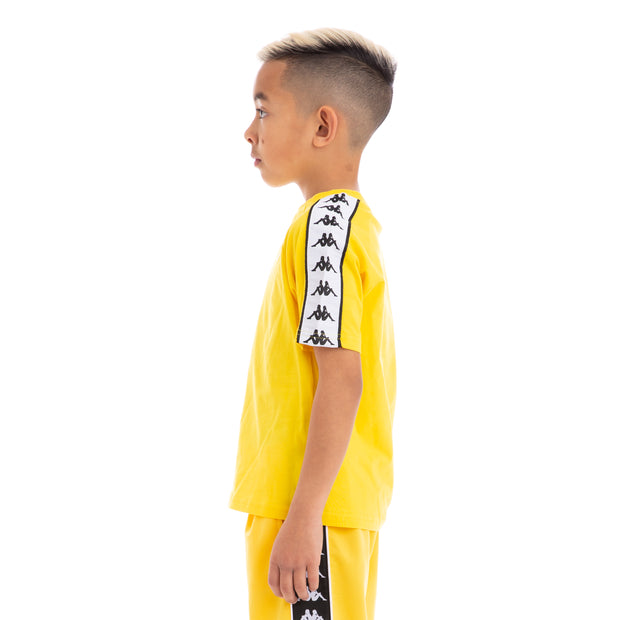 Kappa Kids 222 Banda Coen Alternating Banda Yellow Black White T-Shirt