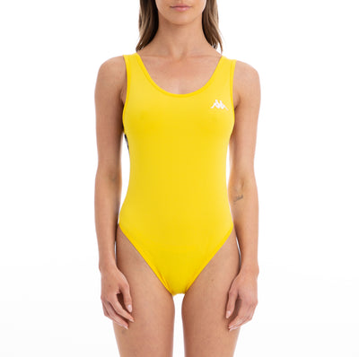 Kappa 222 Banda Auber Alternating Banda Yellow Black White Bodysuit