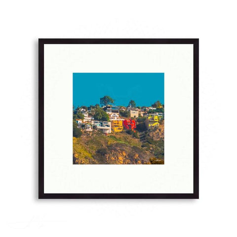 California - California Hills Dotted with Colorful Homes | Limited Edition - jspfinearts