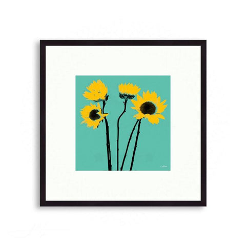 Fauna & Flora - Colorized Sunflowers Against Teal | Limited Edition - jspfinearts
