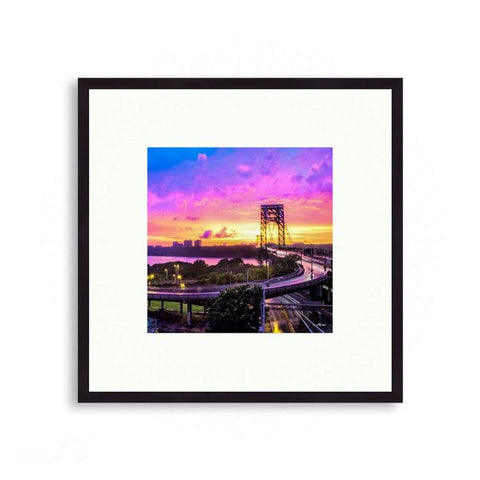 Landscapes - Colorful Sunset over the George Washington Bridge | Limited Edition - jspfinearts