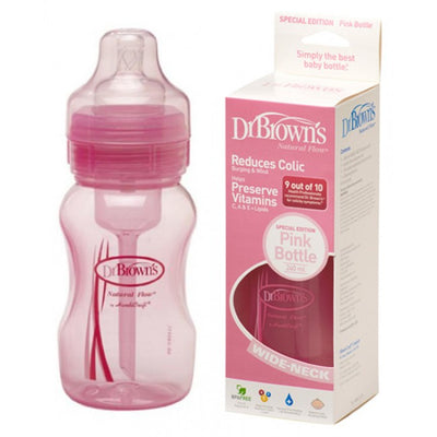 Dr. Brown's 240ml Wide Neck Bottle With Level 1 Teat (Pink)