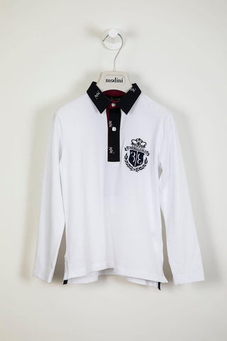 "ROPA PARA NIÑOS - Polo blanco con manga larga Billionaire ""Lordy"" - Modini Shop"