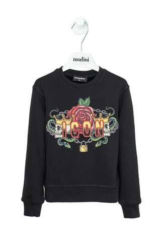 SWEATSHIRT BLACK FOR THE BOY DSQUARED2 WITH SLEEVES