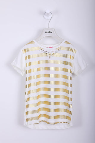 T-SHIRT STRETCH M/C CON RIGHE LAMINA ORO - Modini Shop