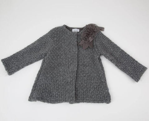Knitted coat with roses application