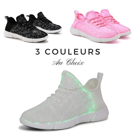3 couleurs de baskets newcosy LED fibre optique basket led lumiere
