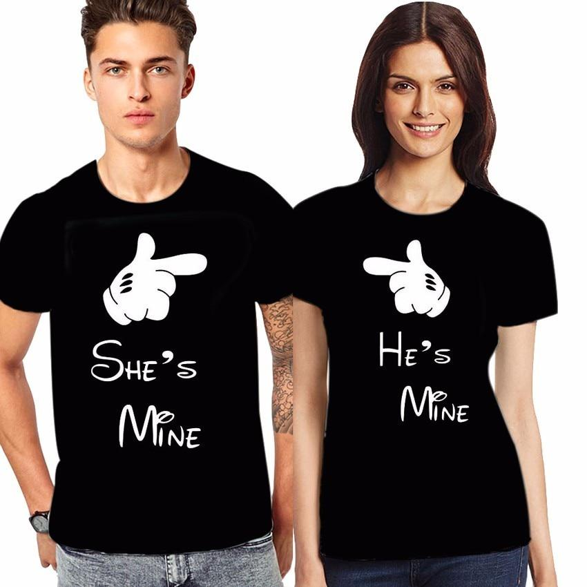 "T-shirt ""He's Mine"" pour couple - shop le vite"