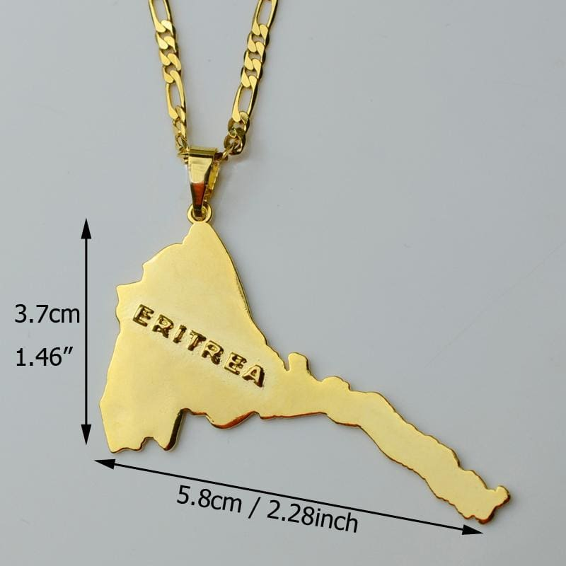 Eritrea Map Pendants & Necklaces Chain - EthiopianClothing.Net