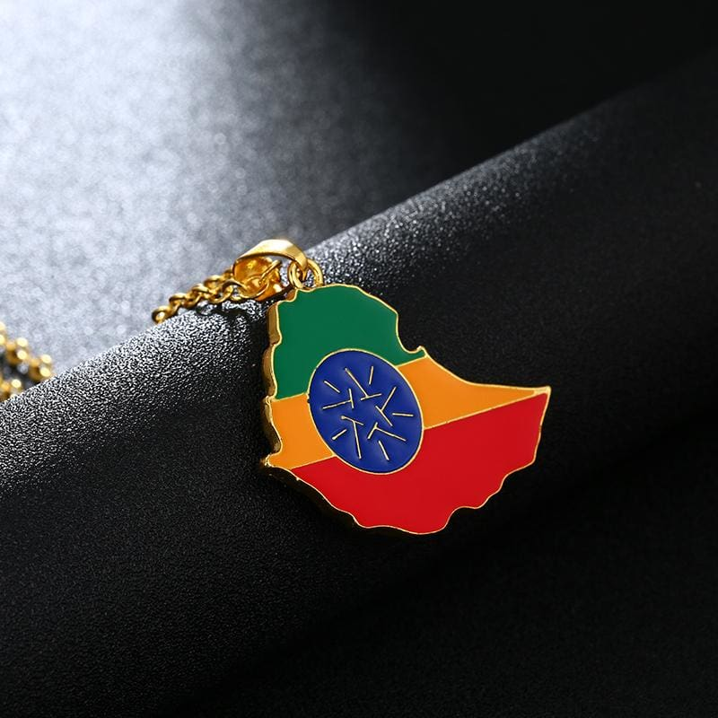 Ethiopia Map Flag Pendant Jewelry ethiopian flag ethiopian map jewelry ethiopian map necklace ethiopian map pendant