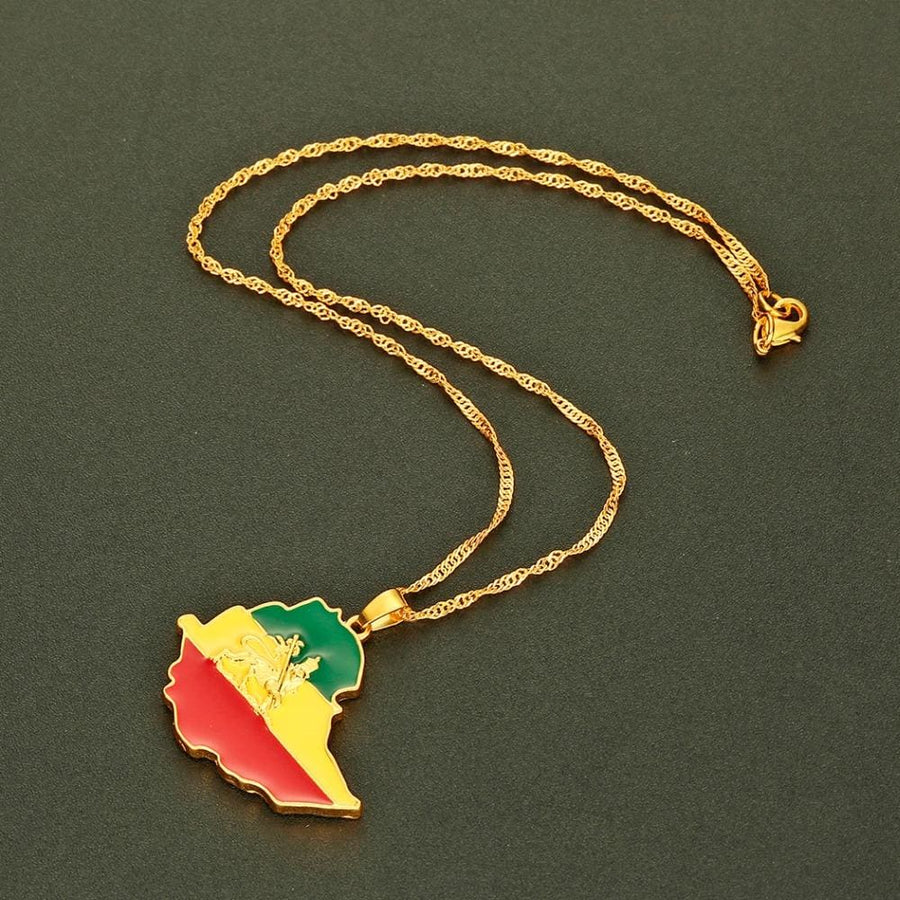 Ethiopian Flag & Lion Map Pendant Jewelry ethiopian flag necklace ethiopian map necklace lion of judha necklace rastafari necklace