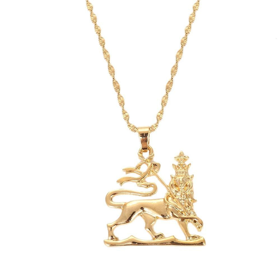 Ethiopian Lion Pendant Necklaces Chain Women Men Gold Color Jewelry Africa Ethiopia Lion Necklace - EthiopianClothing.Net