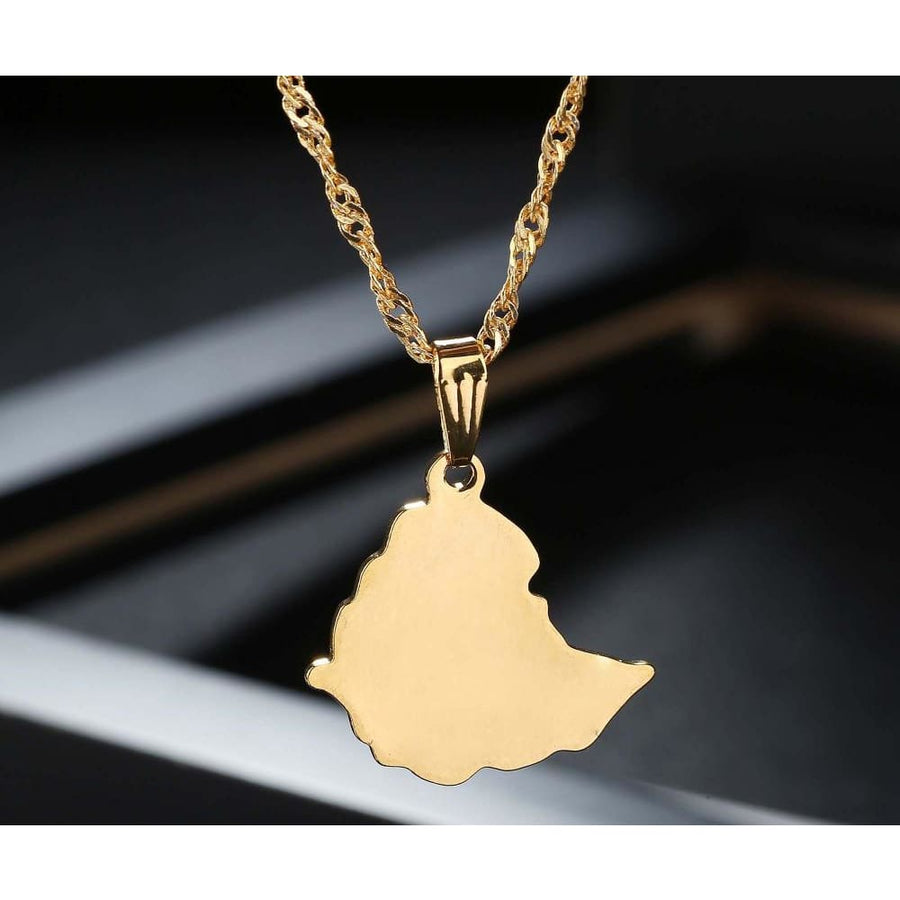 Ethiopian Map Unisex Pendant Necklaces Jewelry Ethiopian map jewelry Habesha goldplated jewelry Habesha men women jewerly
