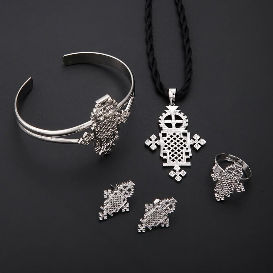 Gold And Silver Plated Ethiopian Baby Cross Jewelry Sets For Teenage Girl Women Nigeria Congo Uganda Jewelry ethiopian cross jewelry