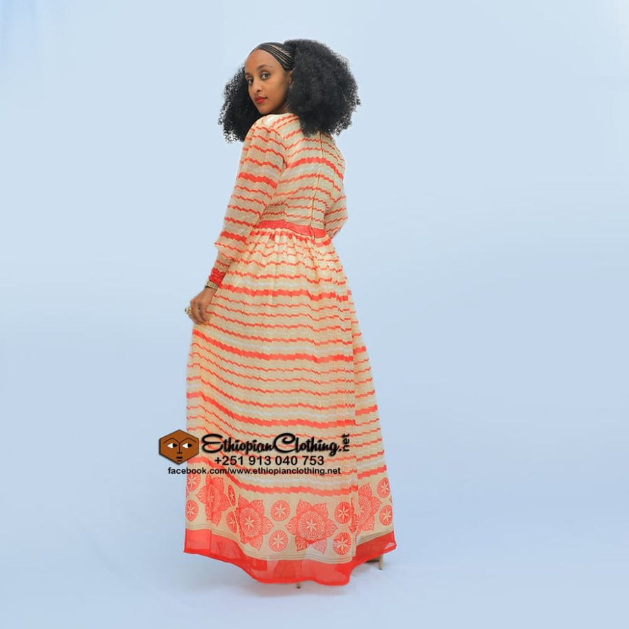 Hindeke chiffon Chiffon Dress eritrean chiffon dress ethiopian chiffon dress Habesha dresses