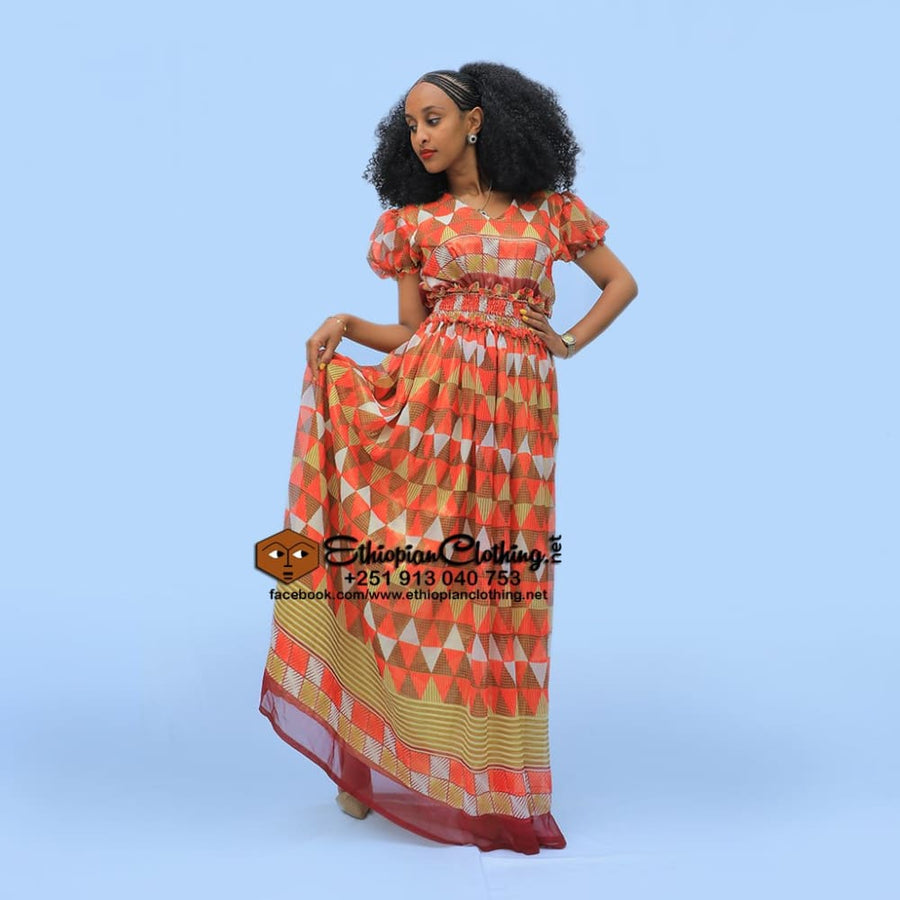 Mebrat chiffon Chiffon Dress Eritrean dresses Ethiopian cultural dress Ethiopian fashion dress Ethiopian traditional clothing