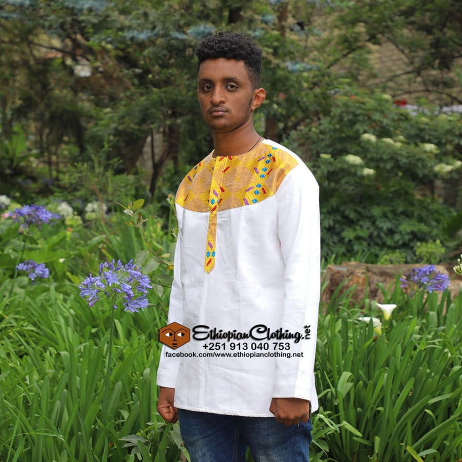 Minilik Ethiopian Men Traditional Cloth tshirt eritrean traditional cloth for man Ethiopian men tshirts habesha mens cultural clothing