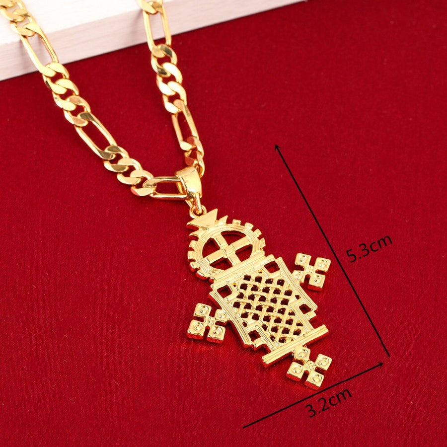 Ethiopian/Eritrean Cross Gold Jewelry Fashion Pendant - EthiopianClothing.Net