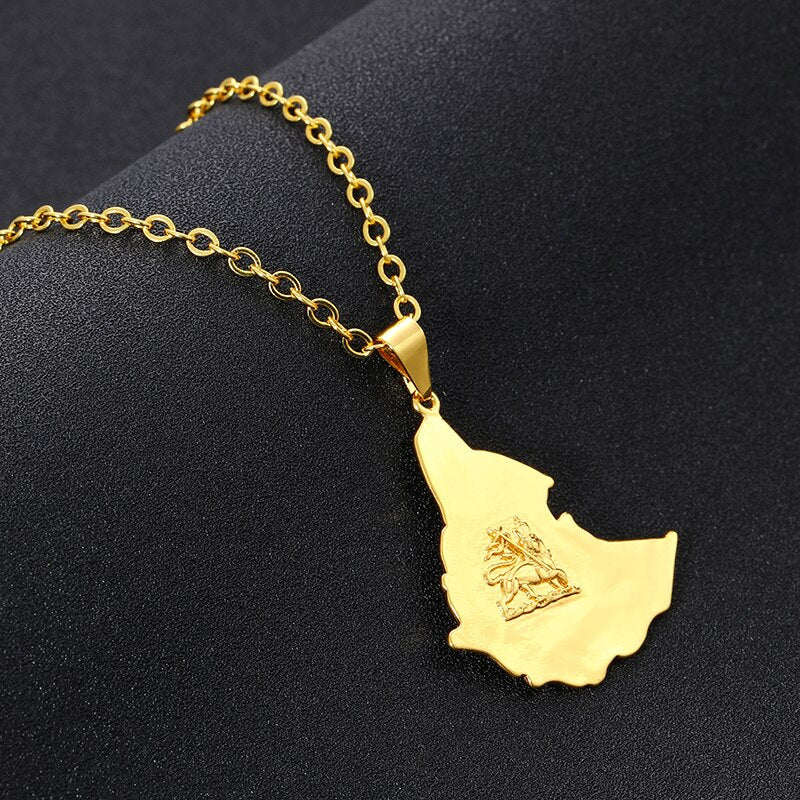 Unisex Ethiopian Map Necklace - EthiopianClothing.Net