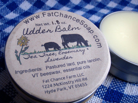 Udder Balm - Lard, Lanolin, Beeswax and Essential Oils, 1.7 oz.