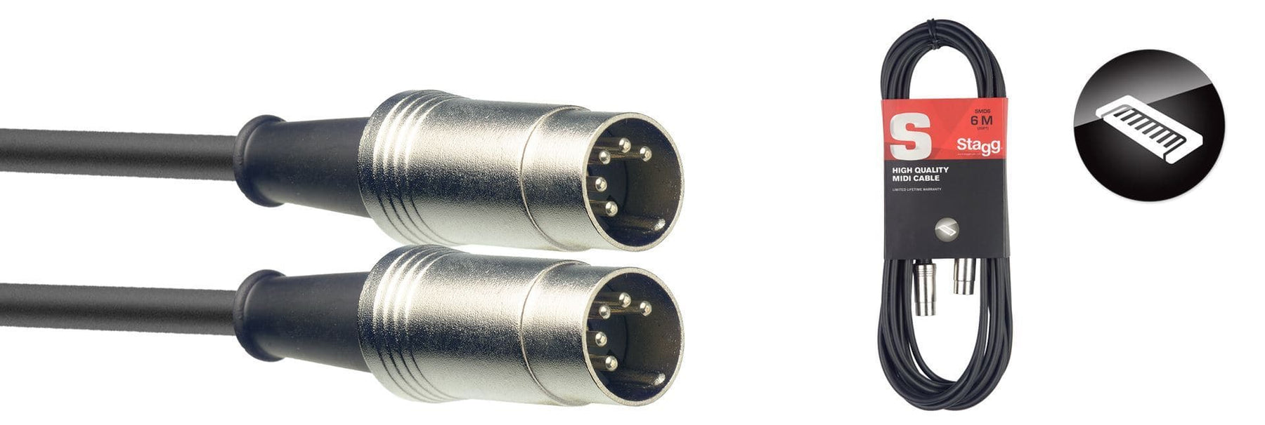 Stagg 6M/20FT MIDI CABLE METAL DINm