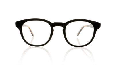 Garrett Leight Warren 1051 MBK/MBK DKTF Matte Black Glasses at OCO