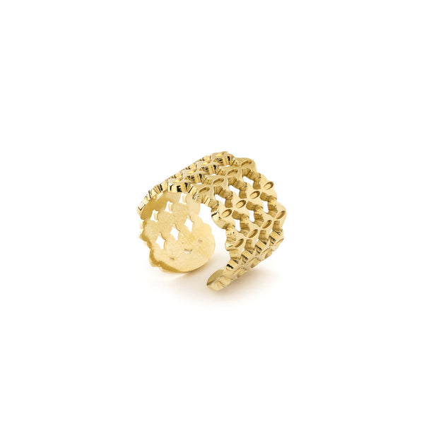 bague forme dentelle doré ajustable collection cherry blossom