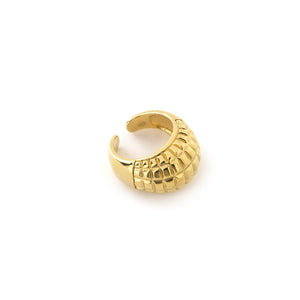 bague relief suggestion grenade, finition doré, collection impact