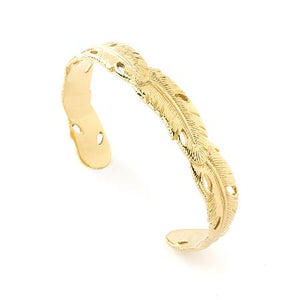 bracelet relief plume finition doré