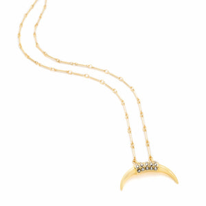 collier double corne doré strass