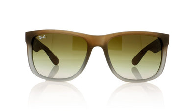 Ray-Ban Justin 854/7Z Rubber Brown On Grey Sunglasses at OCO