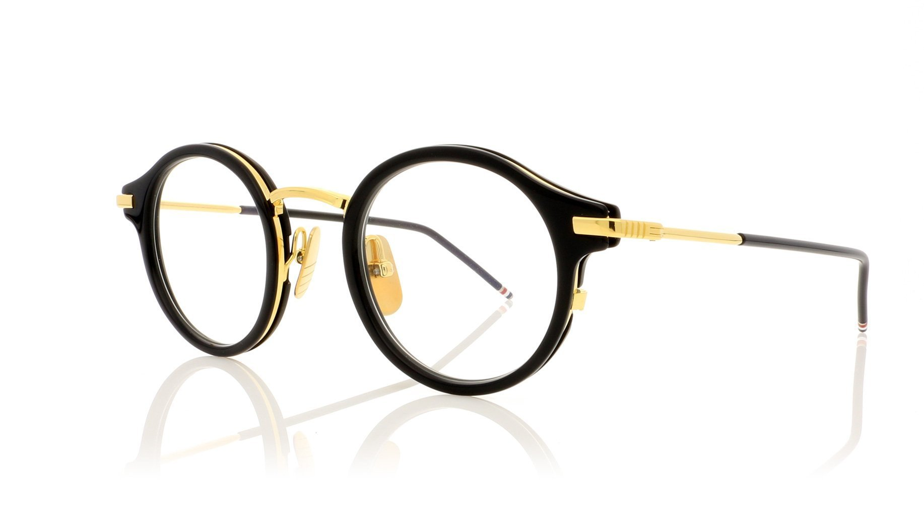 Authentic Thom Browne 807 D-T-NVY-GLD Sunglasses Navy 18kt Gold//Brown *NEW* 45mm