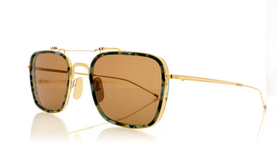 Thom Browne TBS816 TB-816-53-02 Navy Tortoise-Gold/Dark Brown NVY-GLD Sunglasses at OCO