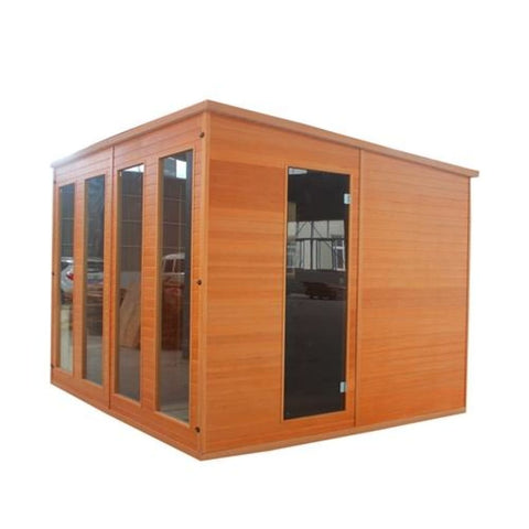 Aleko Canadian Cedar Outdoor Studio Storage Shed Home-Cabin and Clubhouse SCRUBYCED7-AP Aleko Sheds and Storage