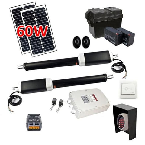 Aleko Dual Swing Gate Operator AS1300 AC/DC Solar Kit 60W AS1300FULL-AP Dual Swing Gate Operator
