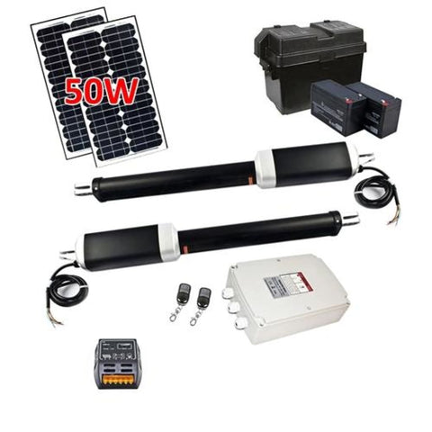 Aleko Dual Swing Gate Operator AS1700 AC/DC Solar Kit 50W AS1700SOL-AP Dual Swing Gate Operator