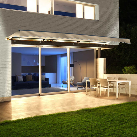 Aleko Half Cassette Motorized Retractable LED Luxury Patio Awning - 12 x 10 Feet - Ivory AWCL12X10IVOR29-AP Aleko Motorized LED Luxury