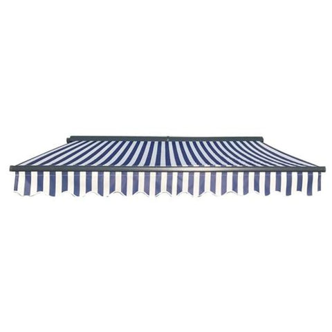 Aleko Half Cassette Motorized Retractable Patio Awning 12 x 10 Feet Blue and White Stripes AWCM12X10BWSTR03-AP Half Cassette Motorized