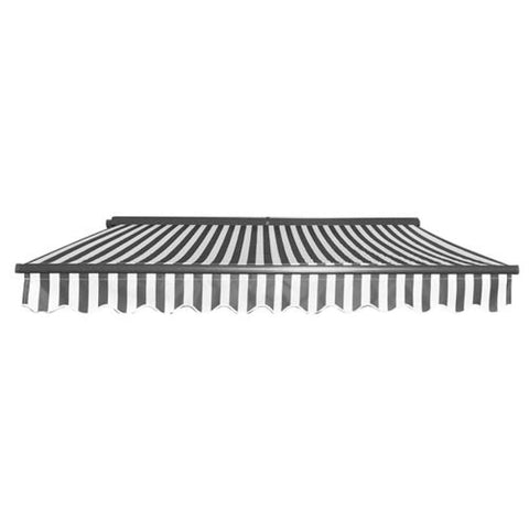 Aleko Half Cassette Motorized Retractable Patio Awning 12 x 10 Feet Gray and White Stripes AWCM12X10GREYWHT-AP Half Cassette Motorized