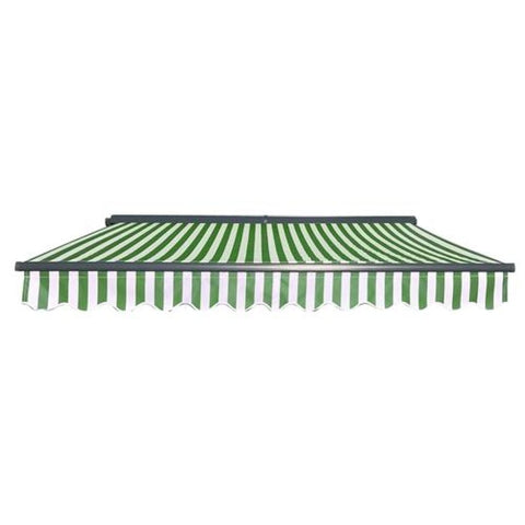 Aleko Half Cassette Motorized Retractable Patio Awning 12 x 10 Feet Green and White Stripes AWCM12X10GWSTR00-AP Half Cassette Motorized