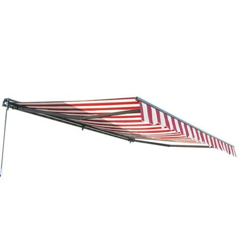 Aleko Half Cassette Motorized Retractable Patio Awning 12 x 10 Feet Multi-Striped Red AWCM12X10MSTRRE19-AP Half Cassette Motorized