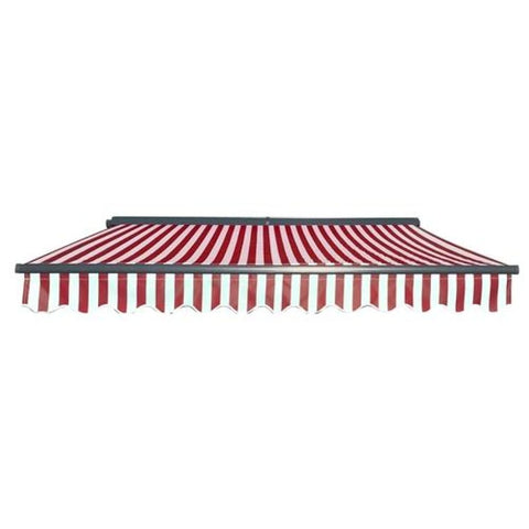 Aleko Half Cassette Motorized Retractable Patio Awning 12 x 10 Feet Red and White Stripes AWCM12X10RWSTR05-AP Half Cassette Motorized