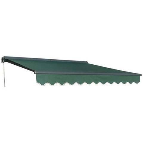 Aleko Half Cassette Motorized Retractable Patio Awning 13 x 10 Feet Green AWCM13X10GREEN39-AP Half Cassette Motorized Retractable Awnings 13